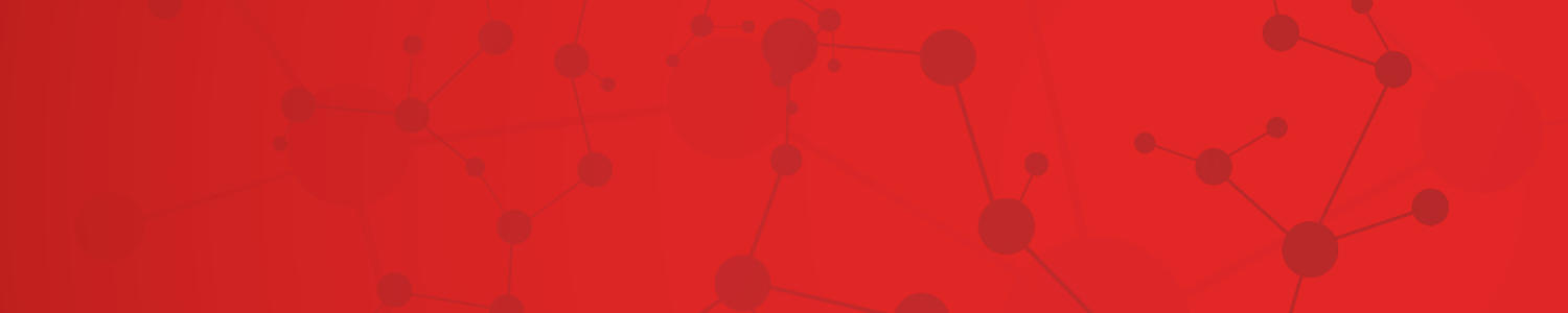 graphic of molecular structure against red background