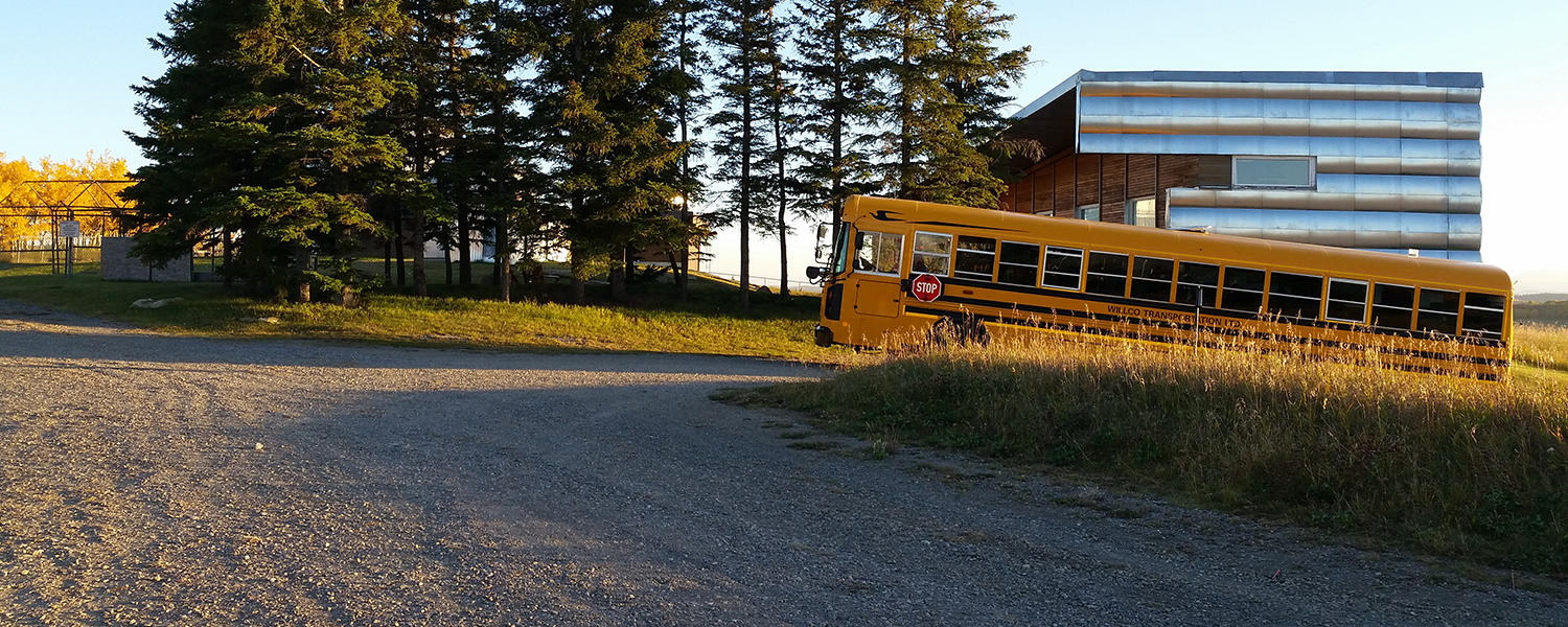 A school bus waits at the Rothney Astrophysical Observatory.