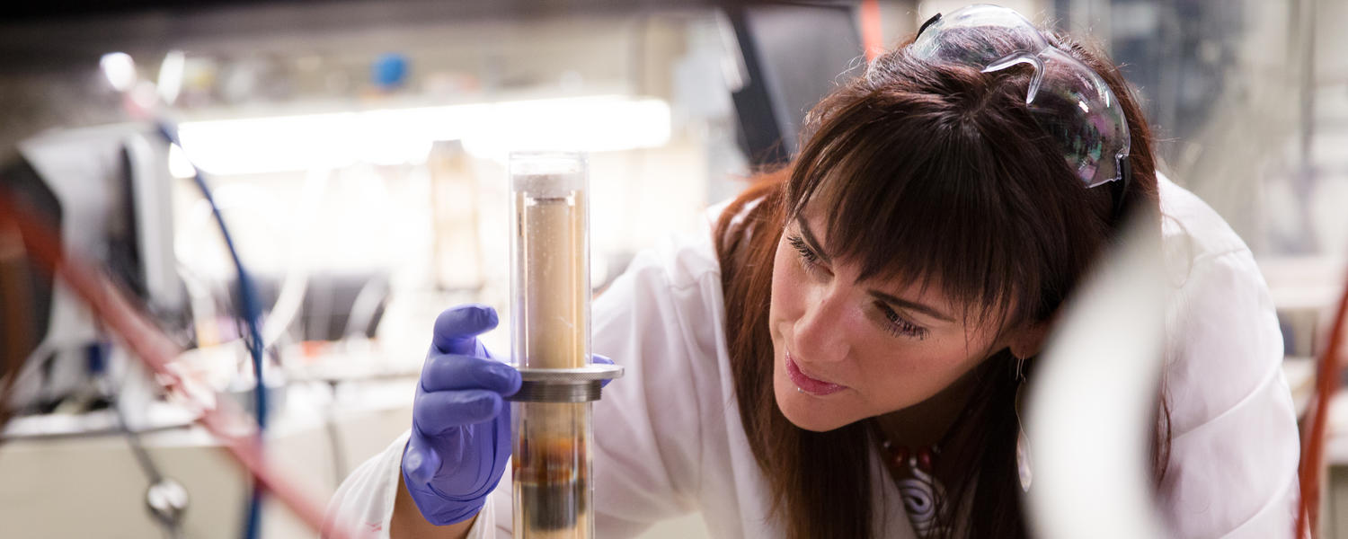 A female student works with a test tube.