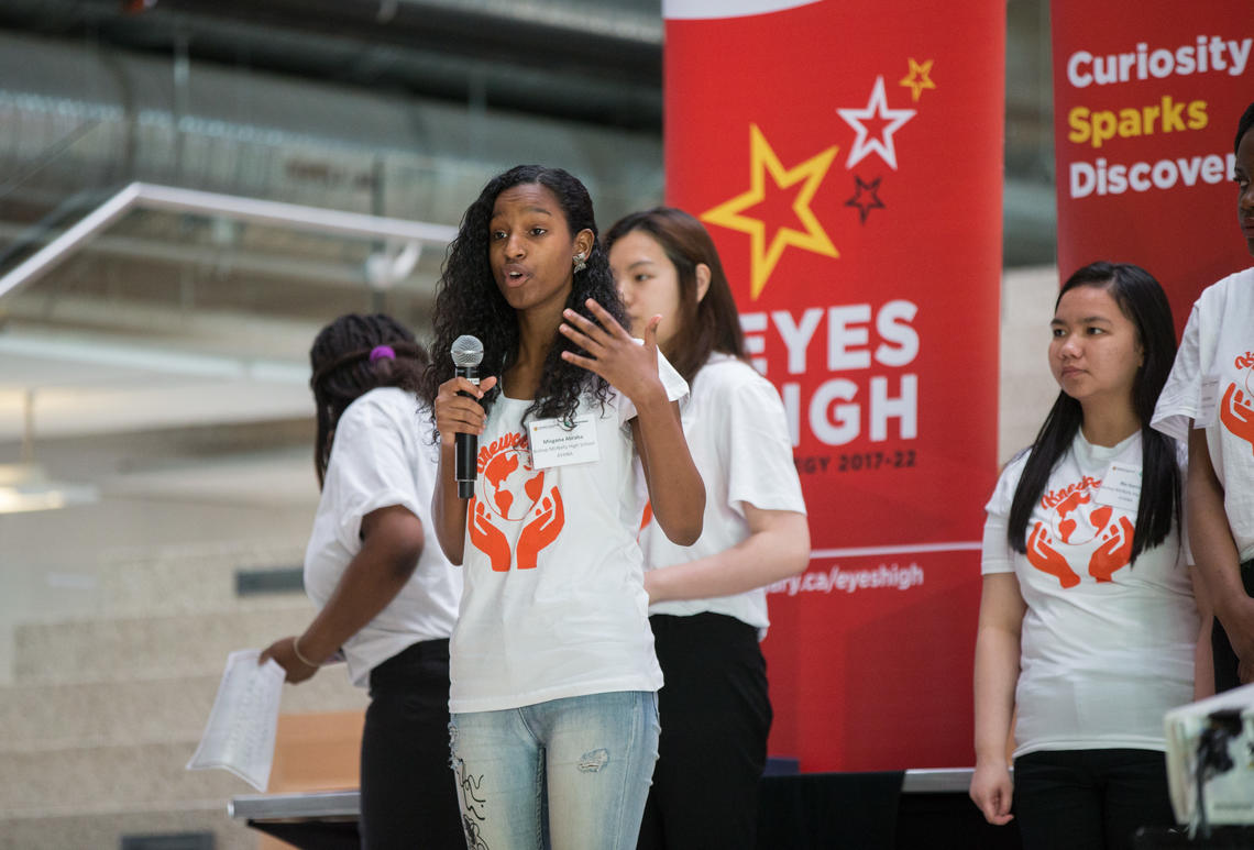 Young women present at the 2018 Technovation regional pitch event for Calgary area