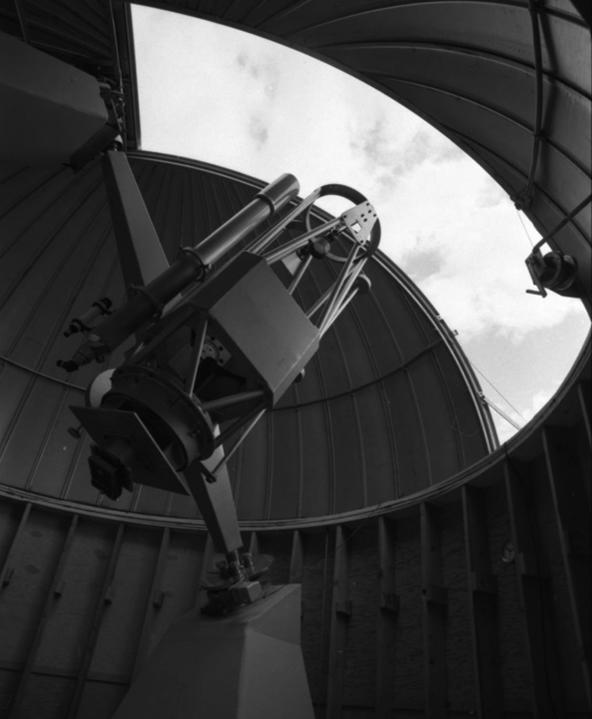 Image of the 0.4 metre Clarke-Milone Telescope and the dome that houses it at the University of Calgary's Rothney Astrophysical Observatory located at Priddis, Alberta in 1972.
