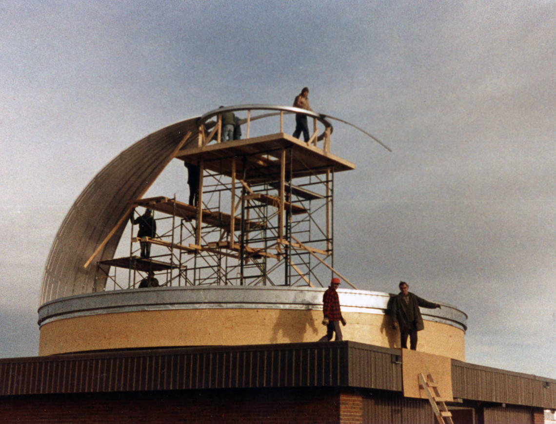 Construction of telescope dome in 1971.