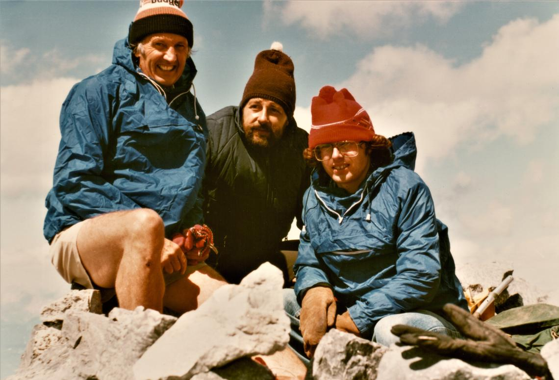 Eric Milner, Norbert Sauer and Eric's son Simon, Mount Temple, 1983