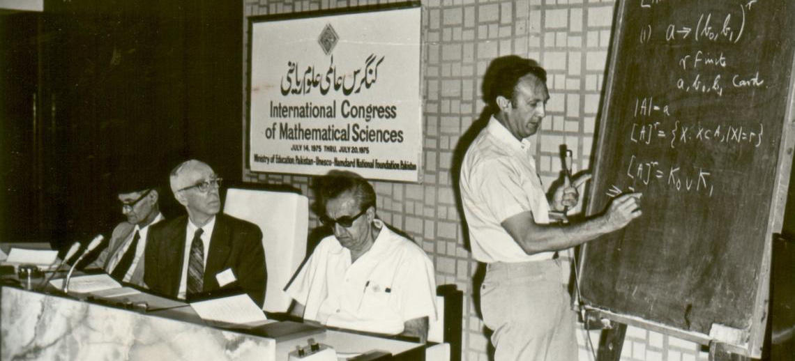 Eric presenting at the International Congress of Mathematical Sciences in Karachi, Pakistan, 1975