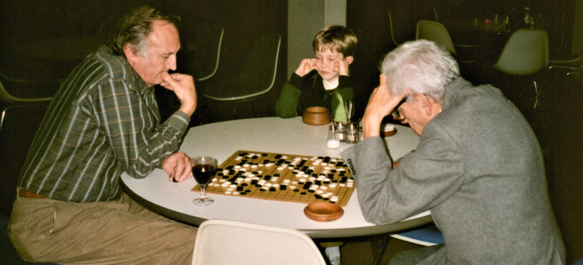 Eric, son Robbie and Paul Erdös at the Oberwolfach Research Institute, 1992