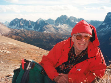 90-year-old Richard after climbing The Towers in Mount Assiniboine Provincial Park in 2006.
