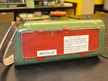 Before the advent of plastic bags, plant specimens were collected in metal containers called vasculums.