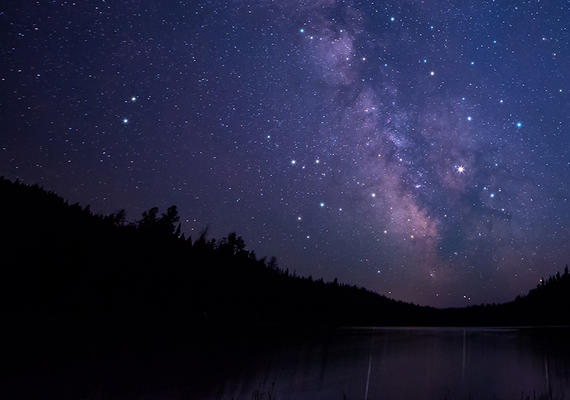 The milky way galaxy over a river.