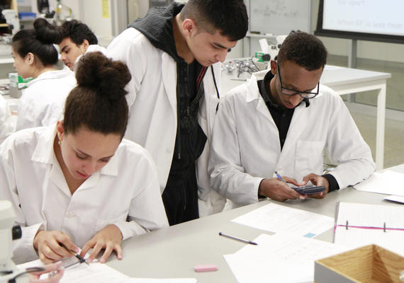 Students workingi in a lab