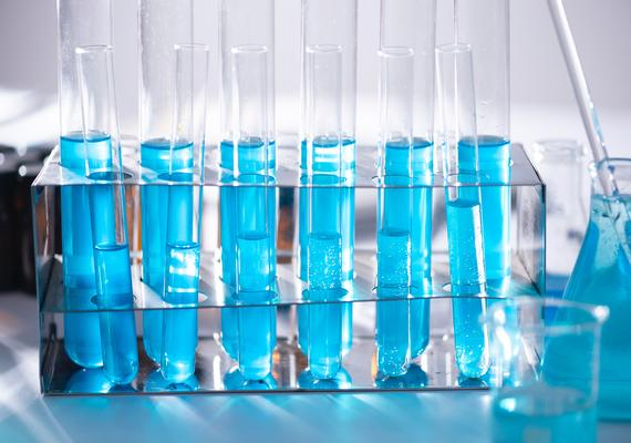 Test tubes with blue liquid.
