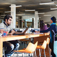 Student sitting at desk in Taylor Library