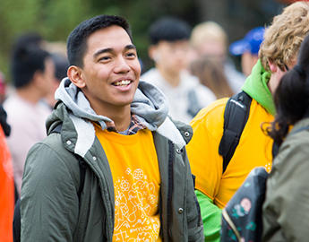 Male student at orientation