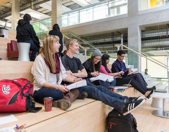 A group of students study together.