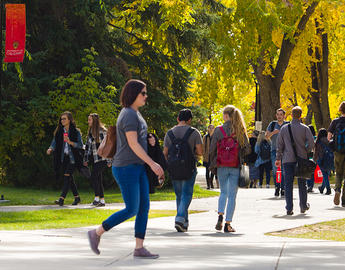 Outdoors on campus.